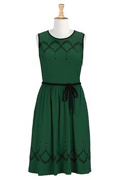 Embellished cotton knit A-line dress