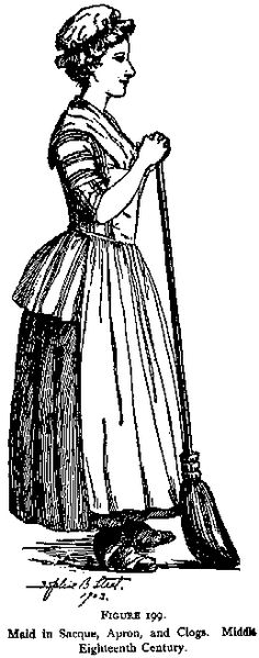 Maid in short robe, apron, and clogs, mid-18th century
