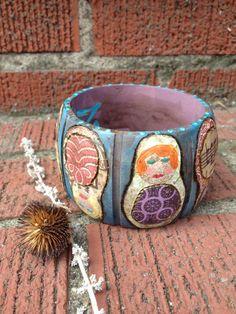 Chunky wooden bangle bracelet hand painted decoupaged by zasra, $45.00