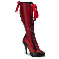"""Steamer style/Shameless Victorian with a modern twist: 4.5"""" High Heel knee-high boots with ribbon laces."""