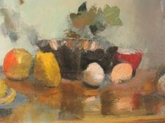 """""""Still Life with Apples"""" by Henri Malvaux. CIRCA: 1940's DIMENSIONS: 13"""" h x 21 3/4"""" w PRICE: $3,800"""