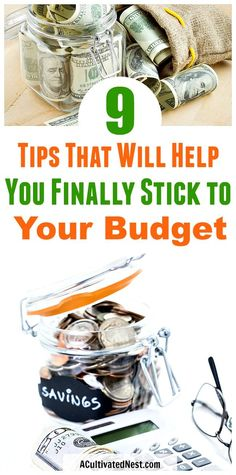 9 Tips for Sticking To Your Budget- Having a hard time staying on budget? It can be easier than you think, if you know the right tips and tricks! These 9 frugal living tips are really easy to implement, and are very effective! | #budget #frugalLiving #waysToSaveMoney #moneySavingTips #frugal #saveMoney #budgeting