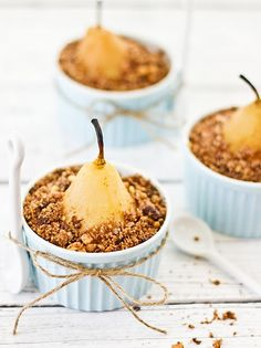 Poached pear crumble with chocolate, coffee and hazel nuts- a sensational dessert! Pear Recipes, Fall Recipes, Sweet Recipes, Fruit Recipes, Just Desserts, Delicious Desserts, Dessert Recipes, Yummy Food, Winter Desserts