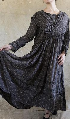 Cullen - European Cotton Nonnie Belle Dress with Gathered Waist, Ruffled V-neck, Buttoned Cuffs and Ruffles Around the Skirt $350.00   2 of 3