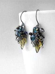 Archer Earrings - Olive quartz, London blue topaz, pyrite  in silver - Kristina Henning Jewelry