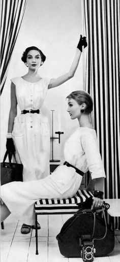 Cherry Nelms and Evelyn Tripp in white cotton summer dresses worn with black accessories by McMullen, photo by Erwin Blumenfeld, Vogue, May 1954 White Cotton Summer Dress, Hans Richter, Hans Arp, Francis Picabia, Alfred Stieglitz, Action Painting, Man Ray, Vintage Glamour, White Fashion