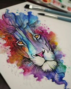 46 Ideas Tattoo Lion Watercolor Faces tattoo is part of Lion painting - Watercolor Face, Watercolor Animals, Watercolor Tattoo, Watercolor Painting, Aquarell Tattoos, Kunst Tattoos, Alcohol Ink Painting, Alcohol Ink Art, Lion Painting