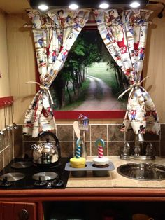 play kitchen from old entertainment center