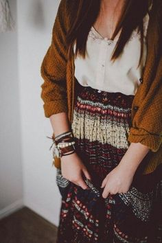Boho comfy but accentuates my waist without adding bulk or making me look homeless or frumpy