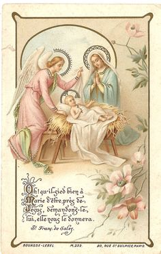 Antique Vintage French Christmas Holy Prayer Card Nativity Manger Scene w/ Angel