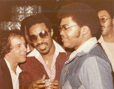 Stevie Wonder, Teddy Pendergrass, and Steve Rubell at Studio 54 ~~ 1977