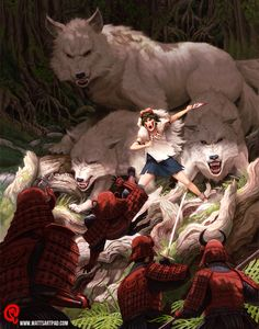 """San and the Wolves by Changinghand.deviantart.com on @DeviantArt - From Miyazaki's """"Princess Mononoke"""""""
