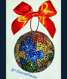 Autism Awareness ❤ This ornament measures four inches.  #Autism #Autistic #Awareness #AutismAwareness #Puzzle #Etsy #MentalHealth #Handmade #Sequins #Christmas #ChristmasTree #Ornaments #Gift #Celebrate #MadeWithLove #OnlyOne #Orange #Blue #Red #Green #Gold #Colorful #Autumn #Christmas2016 #TheMostWonderfulTimeOfTheYear #Tag #On