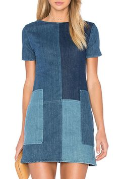 j brand luna patchwork denim dress Mix things up with patchwork denim. This dress is the ultimate casual outfit because it looks super cute but only requires one step. Just add some strappy sandals and youre ready to head to brunch. Fashion Sewing, Denim Fashion, Look Fashion, Fashion Outfits, Dress Sewing Patterns, Clothing Patterns, Jeans Dress, Shirt Dress, Denim Dresses