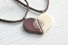 Set of a half heart hand painted pendants for you door MagicTwirl