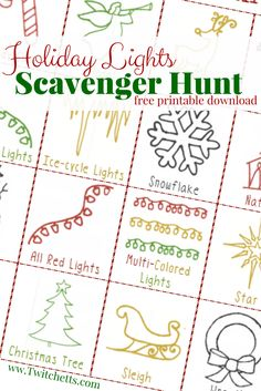 Grab this free printable Holiday Lights Scavenger Hunt for a fun new family tradition! Search for Christmas lights with your little ones. Cute pictures allow even the youngest kids to play!