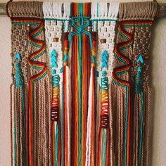Most recent southwestern hanging, Los Lunas Most recent southwestern hanging, Weaving Projects, Macrame Projects, Weaving Art, Loom Weaving, Macrame Wall Hanging Patterns, Macrame Art, Macrame Design, Yarn Wall Art, Yarn Wall Hanging