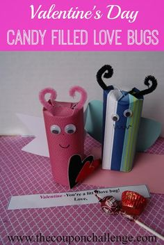 This is such a super cute craft for kids!  Make a candy filled love bug Valentine's craft in February.  It's an easy Valentine crafts for kids to send to family and friends.
