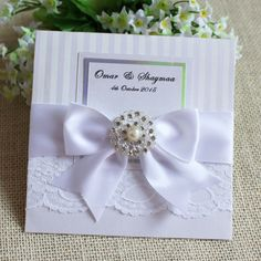 Elegant Lace Wedding Invitation With Ribbon Bow And Crystal Decorations