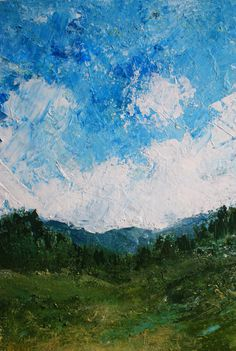 A Forest Under Blue Skies Impasto Painting Canvas Print