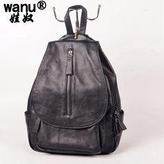 WANU New 2016 Genuine Leather Backpacks Women Bags Ladies Brand Backpack  Preppy Style Vintage school Bag 50fa4f78bdbf