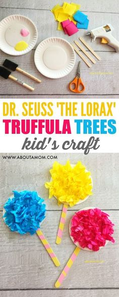 Fun and easy truffula trees craft activity for kids based on 'The Lorax' by Dr. Seuss. #crafts #craftsforkids #kidscraft #drseuss #crafting #homeschool #earthday #activities #kidsactivities #artsandcrafts #kids #classroom #diy