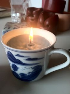 Recycle old candle stubs into new candles in pretty containers.