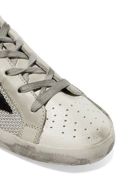Golden Goose Deluxe Brand - Super Star Distressed Leather-paneled Mesh Sneakers - Gray - IT39