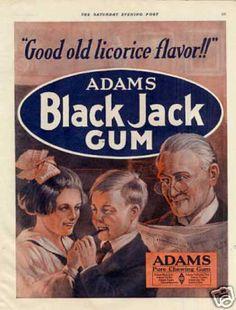 Adams Black Jack Gum Color (1920) - vintage brand advertising