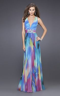 Amazing watercolor print gown with v-neck and broach below the bust. The a-line skirt and over the shoulder straps make this dress perfect for a variety of body types...however, it only comes in sizes 0-6