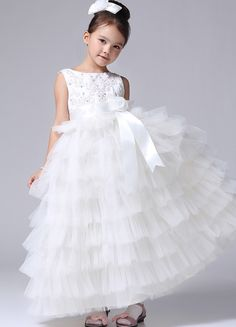 Organza Layered Maxi White Dress for Wedding Party