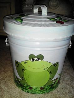 6 Gallon Hand Painted Galvanized Can by krystasinthepointe on Etsy, $59.00