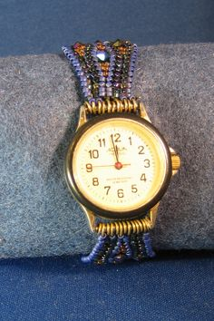 This is one of my first watch bands woven in an herringbone stitch.