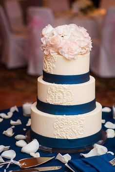 Image result for blush and navy wedding cake
