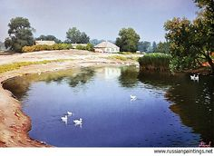 Russian Paintings Gallery - Adamow Alexis - 'Village Pond'