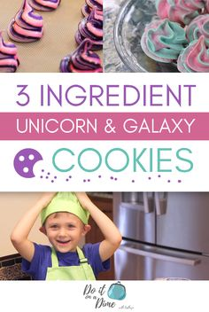 Three Ingredient Unicorn and Galaxy Cookies