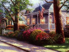Painting by Thomas Kinkade — Everyone needs to be welcomed home. Even the Homeless. Help us help them find their way back. www.ACRescueMission.org  Click image to see enlargement.