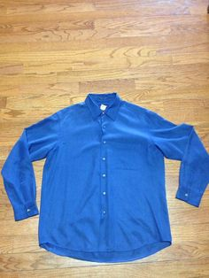 Club Room by Charter House Size Large Button Up Shirt Blue Silk Golf Shirt | eBay