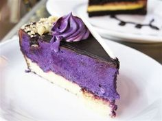 violet infused chocolate cream pie. I could not find a recipie, I did try hard. BUT with some imagination, could come up with one, its all in the food coloring, I suspect, that and great candied violets, and luscious dark chocolate shell.