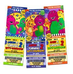 barney birthday invitations party ticket photo by mariagala44, $11.99