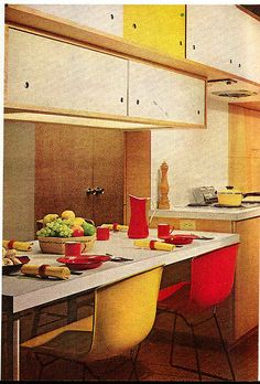 Retro kitchen dining. Red yellow in the kitchen.