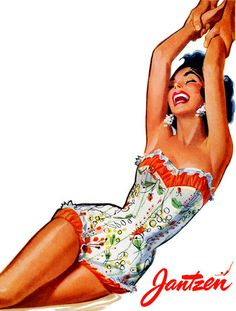 Jantzen is celebrating 100 years of glamorous swimwear. To that end I thought best to feature some Jantzen Vintage Ads from the All I can think in loo Pin Up Vintage, Moda Vintage, Vintage Ads, Vintage Posters, Creepy Vintage, Vintage Stuff, Vintage Girls, Vintage Bathing Suits, Vintage Swimsuits