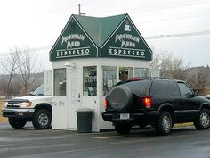 Drive through coffee stands on EVERY corner!