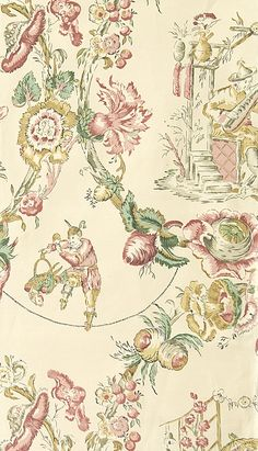 Cathay Toile Linen Fabric Very pretty chinese toile de jouy design fabric in yellow and pink printed on buttermilk linen union