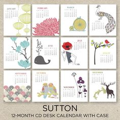 SUTTON DESIGN 2018 Desk Calendar with a self-standing jewel case featuring a colorful and fun illustration for each month of the year. Each month is printed on its own page. Its the perfect calendar to have right on your desk to quickly reference the date. Great for any holiday gift or