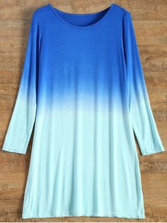 Long Sleeve Ombre T-Shirt Dress - TURQUOISE S Mobile