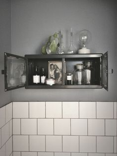 Galvanised cabinet, perfect for my bathroom Bathroom Inspiration, Interior Inspiration, Kitchen Dining, Kitchen Cabinets, Minimal Home, Small Bathroom, Bathrooms, Closet Bedroom, Storage Cabinets