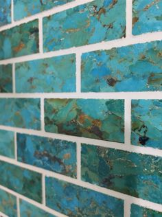 Gorgeous :) Handcrafted Mosaic Turquoise tile can be used for any interior application! Turquoise Tile, Turquoise Bathroom, Copper Bathroom, Turquoise Kitchen, Teal Kitchen, Copper Kitchen, Kitchen Backsplash, Teal Tiles, Kitchen Colors