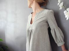 Dress or Tunic  My Garden  Hemp linen  color by IsabelAmyo on Etsy, $135.00
