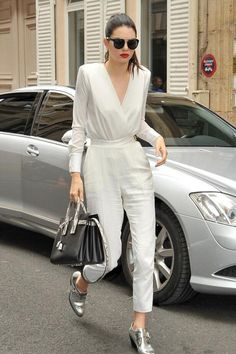 Kendall Jenner wearing Christian Dior Black Tie Sunglasses in Black, Barbara Bui Mirror Leather Derby Shoes, Saint Laurent Sac De Jour Small Leather and Snakeskin Tote, Elisabetta Franchi Fall 2015 Bodysuit and Elisabetta Franchi Fall 2015 Pants